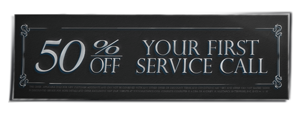 Fifity percent off your first service call coupon.
