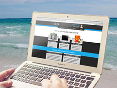 Image of a person using their computer at the beach.